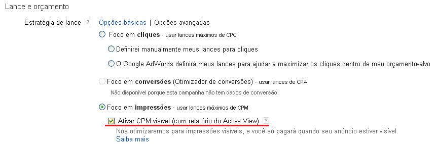 Como configurar o CPM visível no Google Adwords
