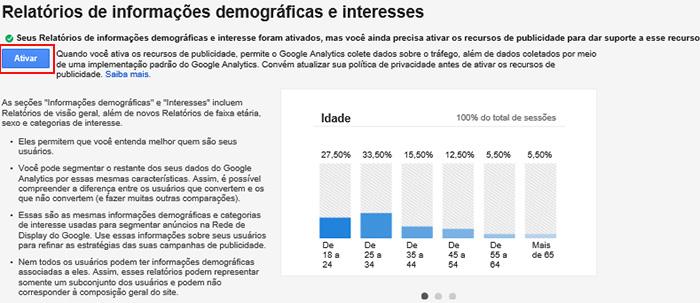 Ativar os relatórios demográficos e de interesse no Google Analytics