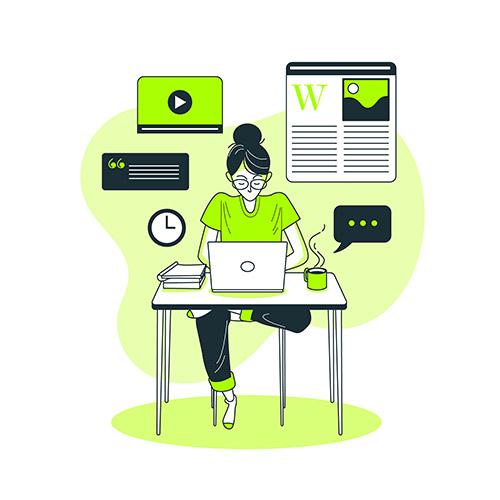 mulher no computador criando um artigo