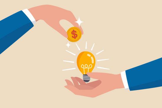 Ideia dinheiro e crowdfunding