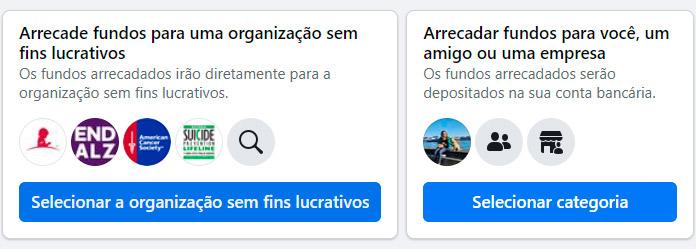 Opções da vaquinha online do Facebook