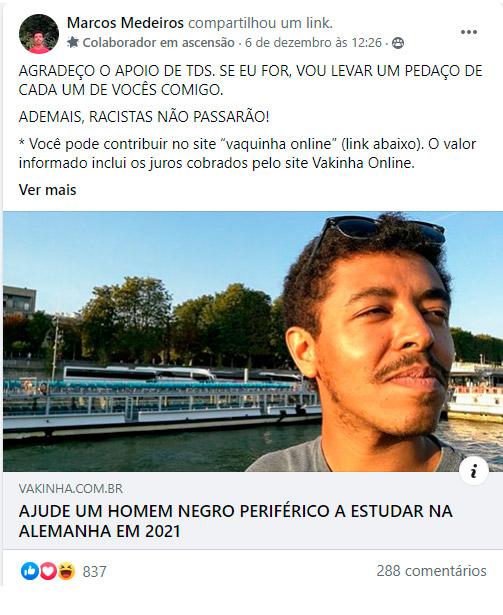 post no Facebook da vaquinha do Marcos Medeiros