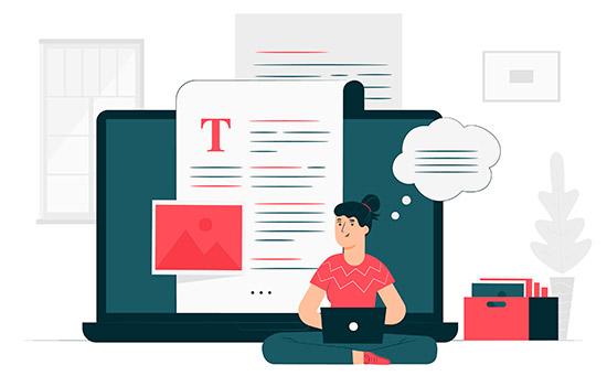 Mulher escrevendo blog na internet